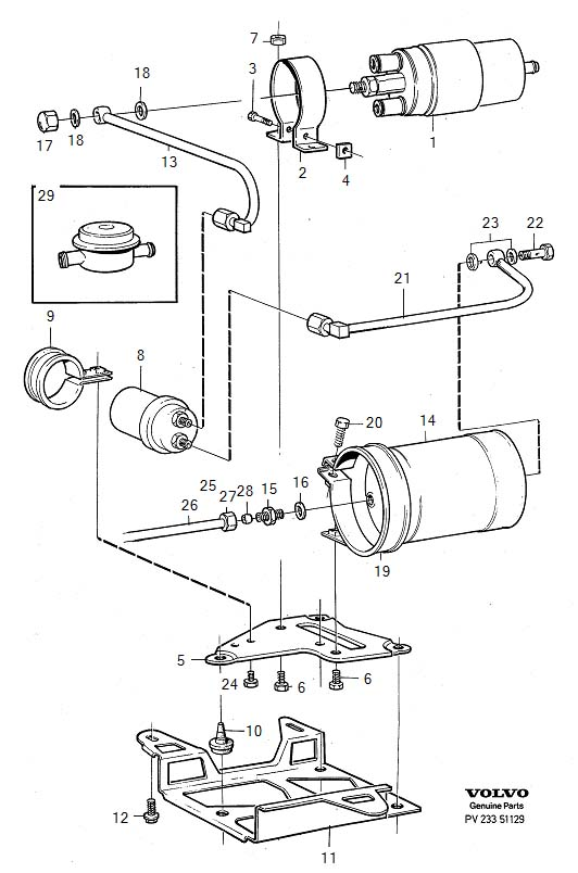 Fuel pump with fittings B200E, B230E B200E, B230E Diagram