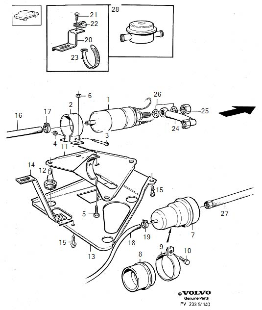 Fuel pump with fittings B200E, B230E B200E, B230E, B28E. Diagram