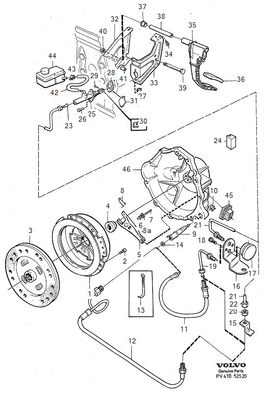 Diagram Clutch Clutch control mechanical D24TIC for your 1975 Volvo 240 2.1l Fuel Injected