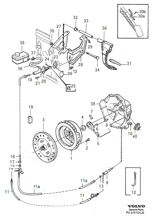 Diagram Clutch control 4-Cylinder TURBO M46 for your 1975 Volvo 240 2.1l Fuel Injected