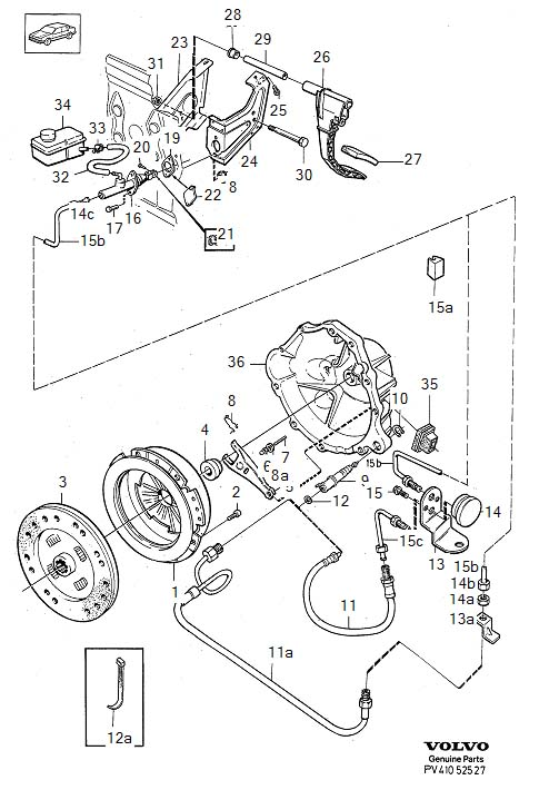 Diagram Clutch control D24TIC M46. Clutch control D24TIC, M46 for your 1975 Volvo 240 2.1l Fuel Injected