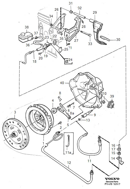Diagram Clutch Clutch control hydraulic, R.H.D for your 1975 Volvo 240 2.1l Fuel Injected