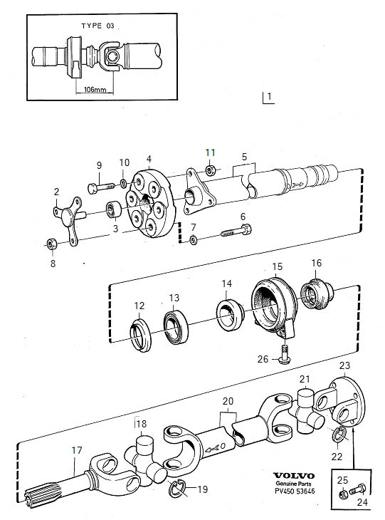 Diagram Propeller shaft center bearing and mounting type 03 Manual Transmission for your Volvo