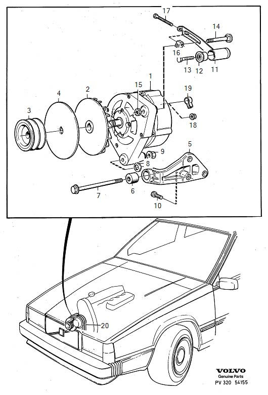 Generator (ac) with mounting parts B200E, B230E Diagram