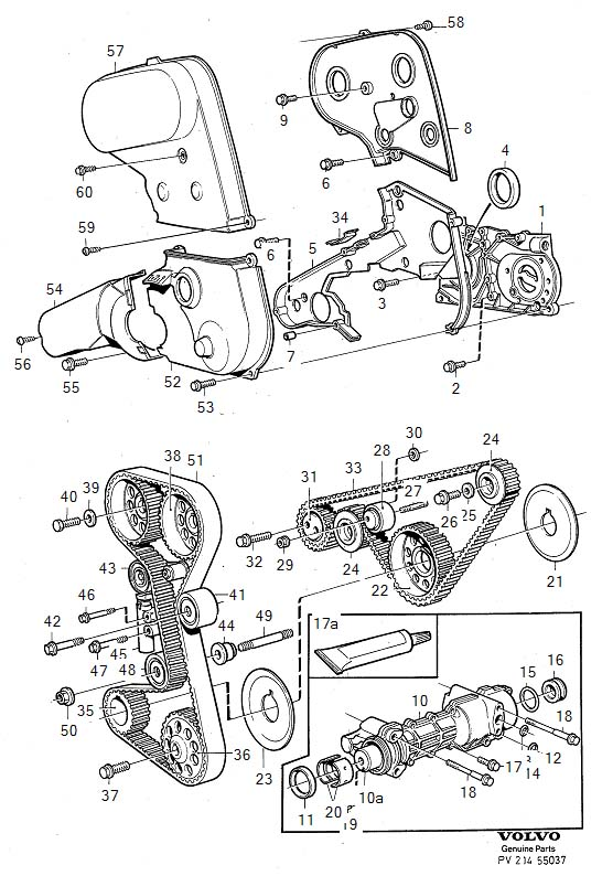 Diagram Belt drive automatic belt tensioner B204, B234 B204FT for your Volvo