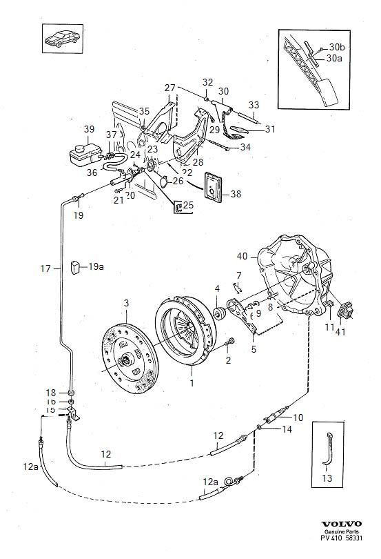 Diagram Clutch Clutch control hydraulic, L.H.D 4-Cylinder, D24, D24T B204GT for your 1975 Volvo 240 2.1l Fuel Injected
