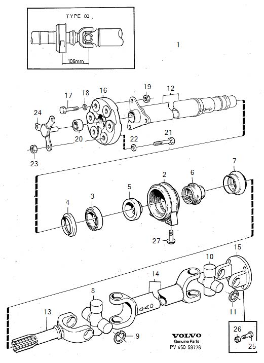 Diagram Propeller shaft center bearing and mounting type 03. for your Volvo