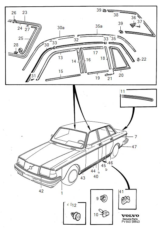 Diagram Trim mouldings 4-Door for your Volvo 240
