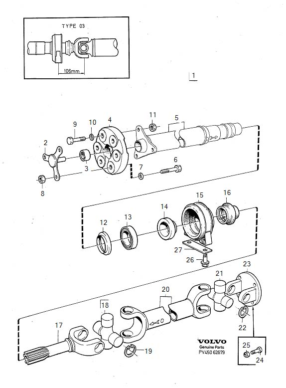 Diagram Propeller shaft center bearing and mounting type 03 alter 2 See illustration for type of design with rubber mount. Propeller shaft center bearing and mounting with rubber mount TYPE 03 TYPE 03 ALTER 2 See illustration for type of design for your Volvo