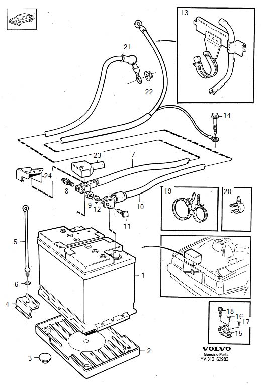Battery with mounting parts B230F Diagram