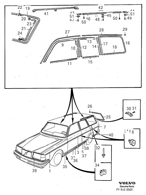 Diagram Trim mouldings 5-Door for your Volvo 240