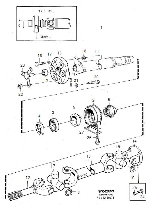 Diagram Propeller shaft center bearing and mounting type 03 for your Volvo