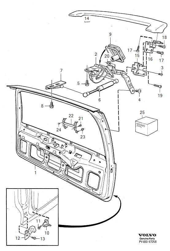 volvo s40 trunk parts diagram