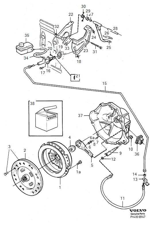 Diagram Clutch Clutch control, Diesel, R.H.D for your 1975 Volvo 240 2.1l Fuel Injected