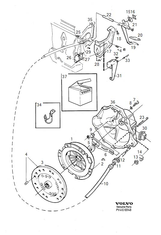 Diagram Clutch Clutch control B19E, B23E, L.H.D for your 1975 Volvo 240 2.1l Fuel Injected