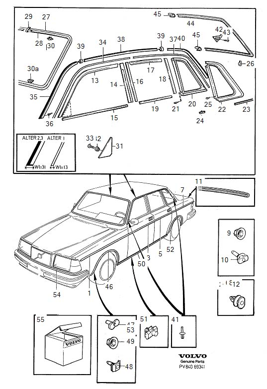 Diagram Trim mouldings 4-Door -1985. for your 1988 Volvo 240