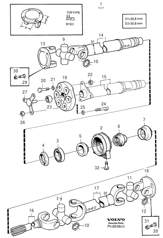 Diagram Propeller shaft center bearing and mounting type 03. 4-Cylinder for your Volvo