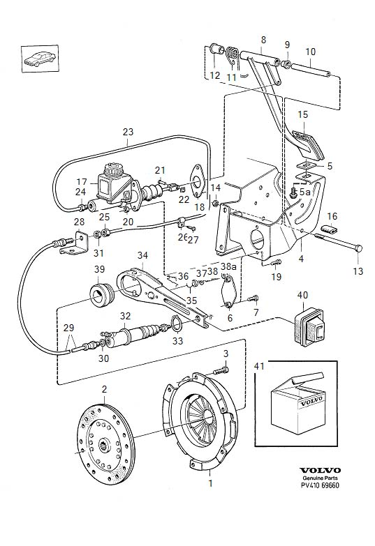 Diagram Clutch control, R.H.D, B200, B230 Engines B17A, B19ET, B21ET, B21FT and related parts are not listed in this catalogue. For the subject engines, please refer to the 240-260 series 1979-1984 catalogue. for your 1975 Volvo 240 2.1l Fuel Injected