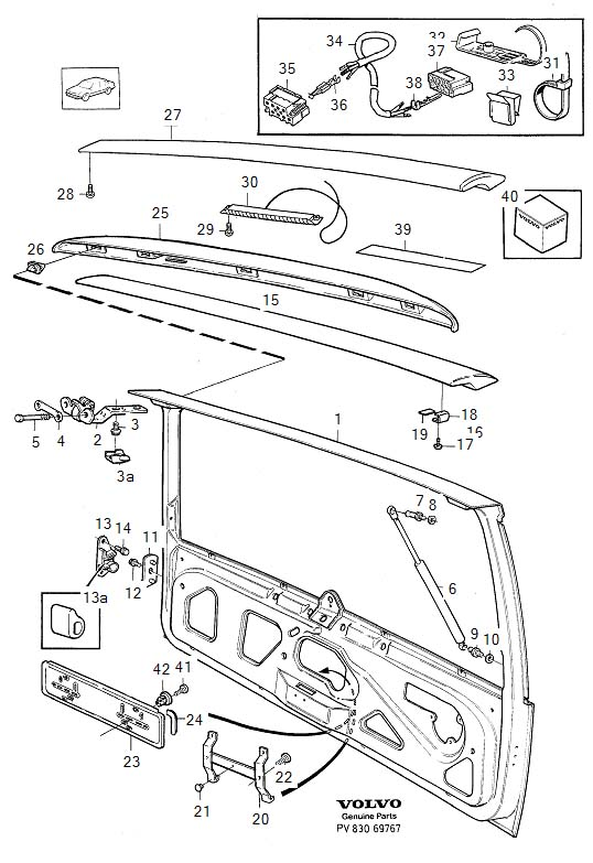 Diagram Body frame Tailgate spoiler 5-Door for your Volvo