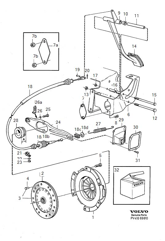 Diagram Clutch Clutch control, L.H.D B19, B20, B21 for your 1975 Volvo 240 2.1l Fuel Injected
