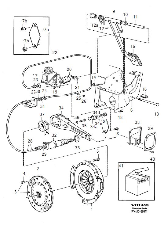 Diagram Clutch Clutch control, R.H.D B19, B20, B21 for your 1975 Volvo 240 2.1l Fuel Injected