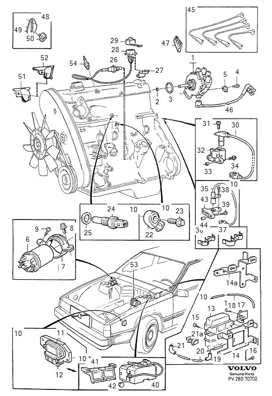 Diagram Ignition system exc B200K, B204E, B204GT, B204FT, B234F for your 1975 Volvo 240 2.1l Fuel Injected