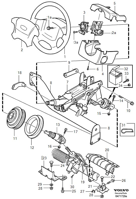 volvo 850 steering column diagram