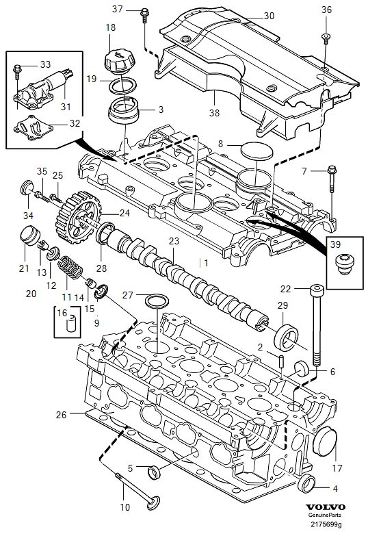 Diagram Cylinder head 4-Cylinder Supplied without camshaft and valve lifter. for your 2000 Volvo
