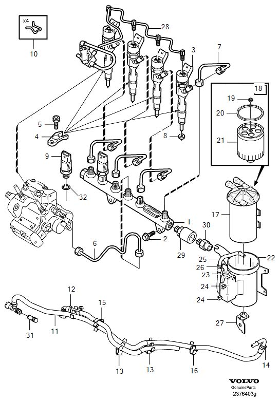volvo v40 injector with engine fuel pipes and fuel filter d4192t3  t4