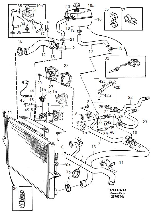 Diagram Cooling system for your 2007 Volvo V70 XC 5DRS S.R 2.5l 5 cylinder Turbo