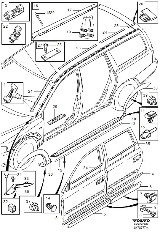 Diagram Trim mouldings V70XC, XC70 for your 1999 Volvo